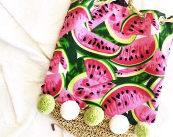 Pompom straw bag, canvas tote bag, watermelon print bag, pompom bag, beach bag, holiday bag, summer bag