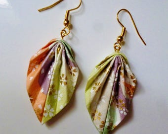 Earrings leaves Japanese paper origami color pastel