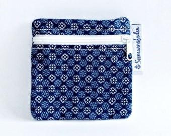 blue flowers tampon case, tampon holder, change, mini purse, little purse, organizer, stocking stuffer