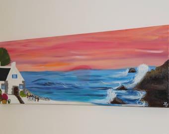 Oil painting - Painting Figurative oil - House Bretagne in edge of Ocean - frame 3 D - 90 mm x 30 cms