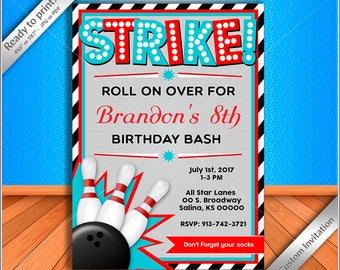 50% OFF SALE - Bowling Birthday Invitation, Bowling Birthday Party Invitation custom for boy - Free thank you card