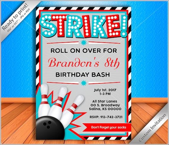 50 off sale bowling birthday invitation bowling birthday party il570xn stopboris Choice Image