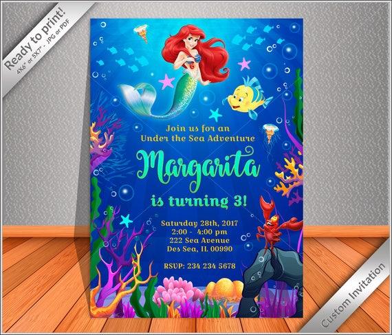 50 OFF SALE Little Mermaid Birthday Invitation Mermaid Ariel