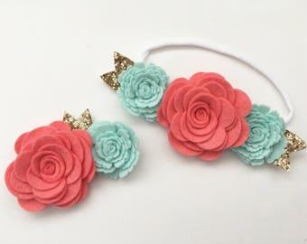 Sister Set Felt Flower Crown Nylon Headband and Hair Clip Newborn Headband Coral Mint / Choose Color / Big Sister Little Sister