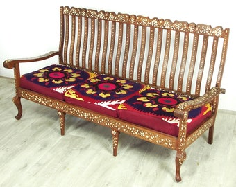 Gorgeous Antique Vintage Teak Bone Inlay  indian anglo 3-piece Sofa set withe Silk suzani cover