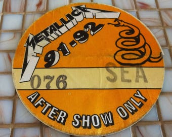 1991-92 Metallica After Show Only Access Pass. Rare Yellow. Used by Local Crew Member