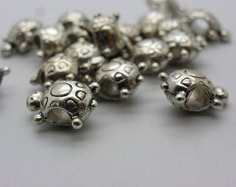 5 large turtles 10 x 15 mm hole 6 mm silver plated brass