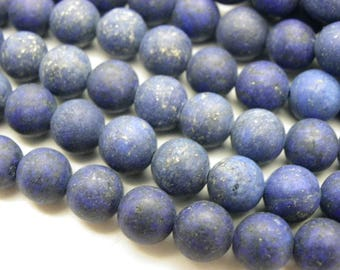 48 frosted 8 mm lapis lazuli beads