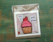 SALE! Cupcake Card, Cupcake Art Card, Cupcake Art, Whimsical Cupcake, Sale Card, Clearance Card, greeting card, note card, Long Live Cupcake