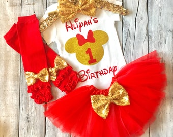 Personalized red and gold minnie mouse 1st birthday outfit, red and gold minnie birthday outfit, red gold first birthday minnie mouse