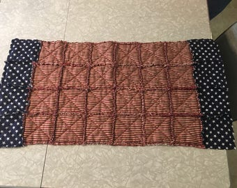 American flag rag quilt style table runner with stars on both ends