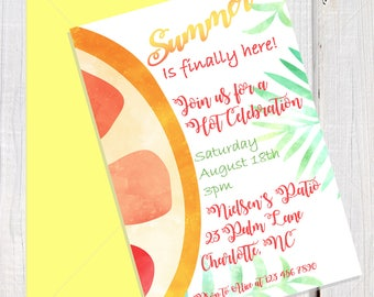 Summer invitation, watercolor grapefruit invitation, citrus & palm leaves invitation, Tropical pool party invitation, includes printed back