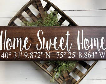Home Sweet Home sign | GPS Coordinates Sign | Coordinates Home Sign | Coordinates wedding gift | Latitude Longitude Sign | First Home Gift