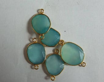 50% OFF 5 Pcs Aqua Chalcedony Connector - 24K Gold Plated Connector - Connector Free Size 10-15mm (Approx)