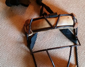 Vintage 1920s Wire Baseball Catchers Mask - Very Good Condition - Cloth Strap