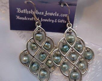 Special- Pearl Chandeliers- Light Blue Pearl Earrings- Genuine Freshwater Pearl Chandelier Earrings- Exotic- Sexy- Beautiful- Exotic