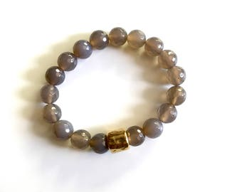 SAM BRACELET * natural faceted gray agate stones with brass accent