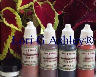 4 Colors Mineral Airbrush Dark Shade 1-5 gram Sifter Jar Silicon Dioxide