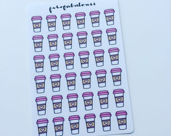 Pink Coffee Planner Stickers