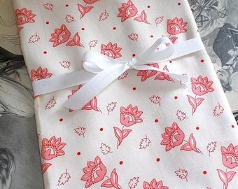 SALE 10% OFF Early 1900's French Cotton Fabric.  Pink & Red Flower Motif with Red Dot.