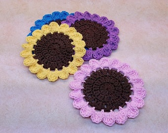 Crochet Wildflowers Coaster Set Pattern DIGITAL DOWNLOAD ONLY