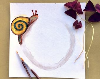 Snail/ Watercolor Snail Wall Art/ Natural Theme/ Gallery Wall Art