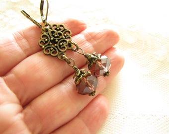 Purple earrings Long earrings Dangle earrings Gift for her Filigree earrings Crystal earrings Girlfriend Gift earrings Gift idea Edwardian
