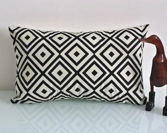 "Print Aztec Beige and Black Pillow Case - Cushion Cover - Mid Century Chevron Pillow Covers - Settee 11.8""x19.7"" - Cotton Linen Decor Home"