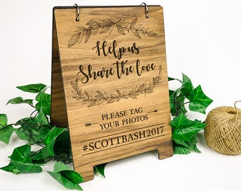 A4 Wooden Sign - Hashtag - Help us share the love