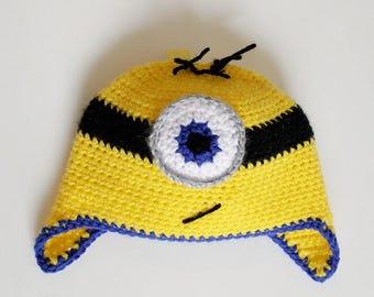 Crochet Minion Hat (Baby/Toddler 12-24 months)