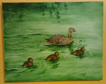 Duck and Her Goslings on Green Pond