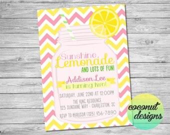 Lemonade Birthday Invitation / Lemonade Invitation / Pink Yellow / Summer Birthday Invitation / Summer Invitation / Digital File