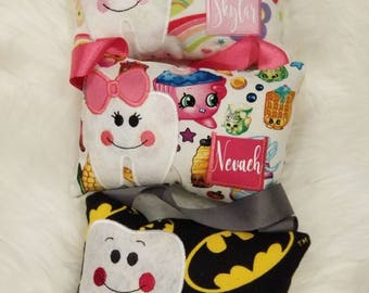 Tooth fairy pillows personalized or monogrammed, lots of colors and patterns available