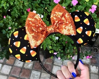 Orange Candy Corn Halloween Mouse Ears