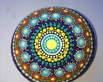 Delightful yello dotted mandala stone