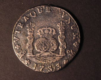 1733 8 REALES CHARLES III Spain Pillar Dollar Silver Coin Copy Mexico City Mint