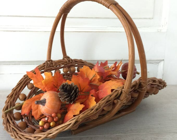 Mid Century Woven Wicker Gathering Basket with Wood Beads