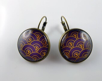 Earrings sleepers bronze wave gold glass cabochons