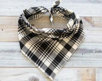 Black and White Plaid Flannel Dog Bandana, Tie On Bandana