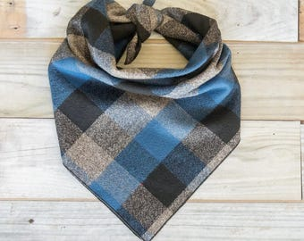 Blue Plaid Dog Bandana, Blue Gray Dog Bandana, Plaid Dog Bandana, Tie On Bandana