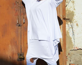 Maxi White One Size Set, Cotton Maxi Sweatshirt, Extravagant Drop Crotch Pants, Elegant Loose Set by SSDfashion