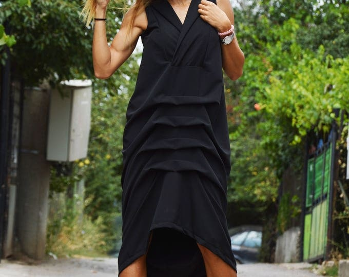 Black Polyviscose Extravagant Dress, Sleeveless Elegant Tunic Dress, Casual Loose  Black Dress, Daywear Kaftan by SSDfashion