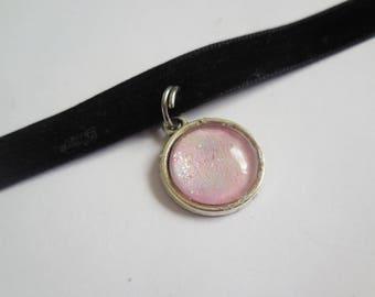 Black velvet pastel pink pendant choker handmade