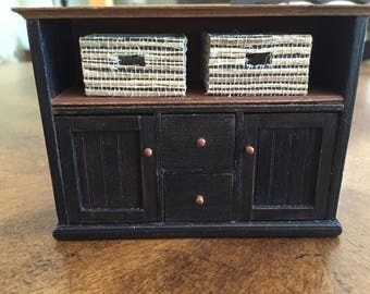 1:12th scale Dollhouse Miniature Sideboard/Dresser with two wicker baskets