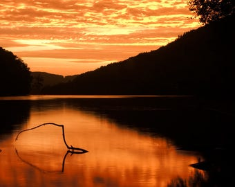 Orange Sunrise Print, Hudson River, Upstate New York, Sunrise Photography, Nature Photography, Fine Art Photography, Picture of Sunrise