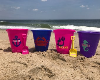 Personalized beach pail, beach bucket, name bucket, sand toy, beach toy, easter basket, beach pail, personalized beach bucket, party favor,