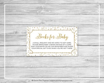 White and Gold Baby Shower Book Instead of Card Insert - Printable Baby Shower Books for Baby - White and Gold Confetti Baby Shower - SP149