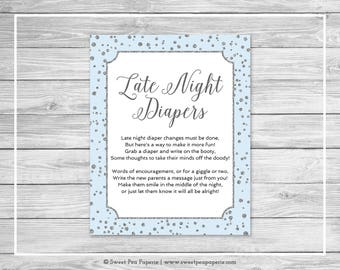 Blue and Silver Baby Shower Late Night Diapers Sign - Printable Baby Shower Late Night Diapers Sign - Blue and Silver Baby Shower - SP151