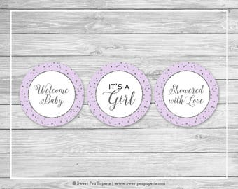 Purple and Silver Baby Shower Cupcake Toppers - Printable Baby Shower Cupcake Toppers - Purple Silver Baby Shower - Cupcake Toppers - SP153