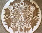 Crystal Grid - Lion Crystal Grid - 6, 9  or 12 Inches - Wooden Crystal Grid - Animal Spirit - Totem - Sacred Geometry